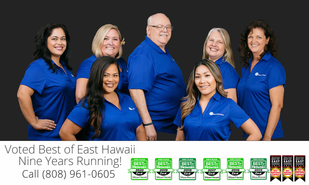 Island Home Loans Team photo taken in Hilo, Hawaii 96720 featuring Best of East Hawaii awards.